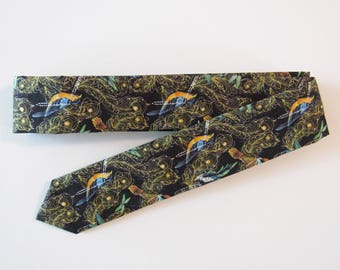 Birds & Dragonflies Liberty of London Skinny Tie // Peacock Feathers, Black, Orange, Teal