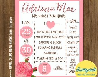 Birthday Poster Printable, milestone birthday stats, floral and hot pink, photo prop girls birthday sign favorite things 16x20