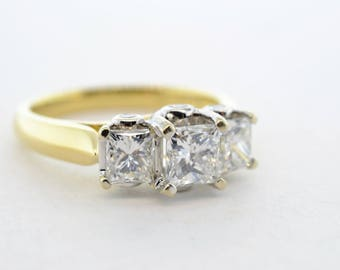 18k Yellow and White Gold 1.45ctw (.53ct & two .41ct) SI1/G-H Princess Cut 3 Stone Diamond Ring- Size 6.5