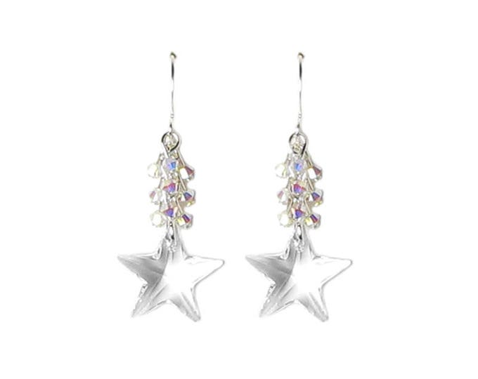 Clear Swarovski Crystal Star Silver Dangle Earrings With Cascading Clusters of Tiny AB2X Drops Summer Outdoors Jewelry Gifts for Women Teens