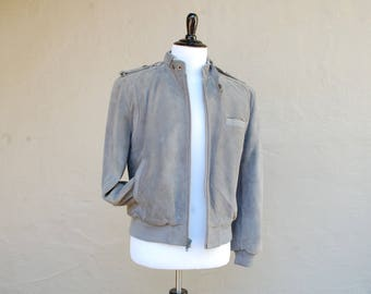 Vintage Mens Medium Repage Thick Heavy Warm Lined Leather Jacket Coat Grey 90s 80s Classic Biker Rider Bomber Aviator