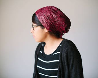 Sparkly Burgundy Knit Snood Headcovering | Women's Headcovering Veil