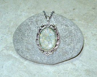 Sparkle Cameo Necklace Handpainted Pendant Antique Silver