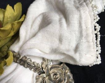 Silverplate Rose Napkin Rings Princess House Heritage Metal Floral Place Card Holders Vintage Set 6 - #M2026