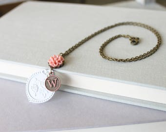Initial Necklace Layered - Personalized Necklace For Wife - Personalized Jewelry - Initial Jewelry - Flower Necklace - Pink Charm Necklace