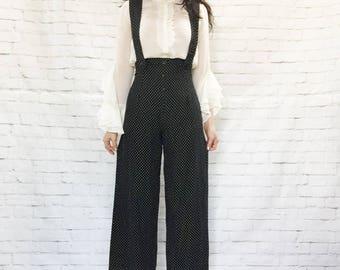 Vintage 90s Does 40s Polka Dot Suspender Wide Leg Pants Jumpsuit Black White S High Waist Menswear