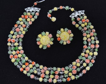 Vintage Necklace and Clip-On Earring Set with Green Yellow and Orange Beads Made in Japan