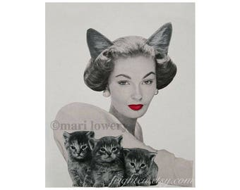 One of a Kind Retro Cat Art Paper Collage of Woman with Cat Ears and Three Kittens, 8.5 x 11 Inch Animal Wall Art