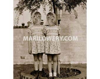 Halloween Wall Decor, Collage Print, Werewolf Art, 8.5 x 11 Inches, Creepy Twin Sisters, Monsters, Weird Wall Art