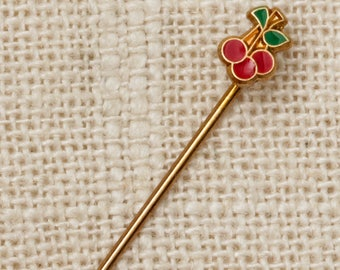 Cherries Stick Pin Red Gold Green Vintage Stickpin 7R