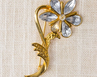 Gold and Rhinestone Flower Brooch Large Stem Marquise and Pear Shape Stones Vintage Broach Pin 7BZ
