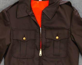 Brown Light Weight Cop Jacket Vintage Size Medium Reflective Reversible Uniform Orange Gold Buttons Mens Womens Unisex | 7NN