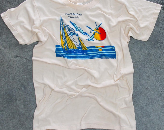 Vintage Florida T Shirt Size SMALL Tropical Sailboat Sunset 1970s 80s Travel Tee | Port Charlotte FLA | 50/50 Cotton Poly Blend USA Thin 7W