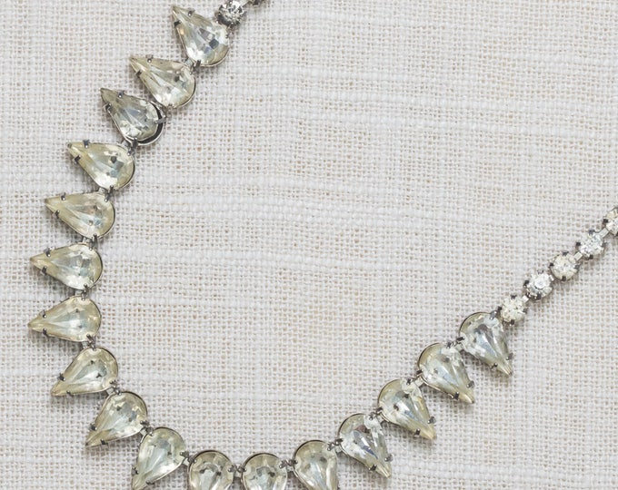 Rhinestone Necklace Vintage Choker Pear Shape Crystal & Silver Costume Jewelry 7AA 3
