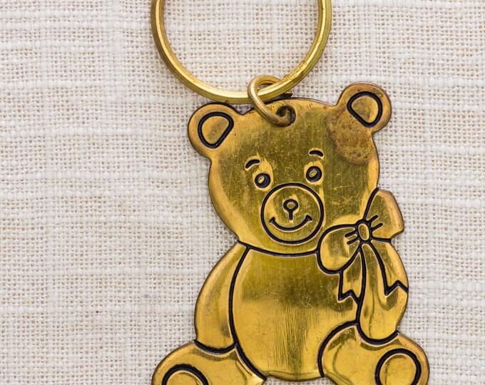 Gold Teddy Bear Vintage Keychain Russ Brand Key FOB Brass Key Chain 7KC