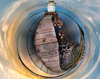 The Portland Breakwater Light Bug Light in Maine 360 panograph spherescpape 16x16 Print on Paper