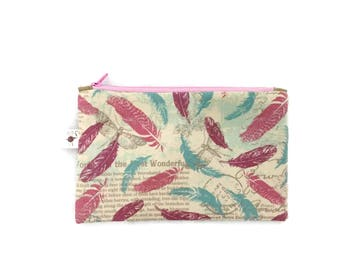 Small Feathers and Butterflies Flat Zipper Storage Wallet Pouch S347