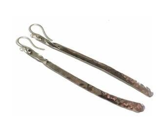 Long Sterling Silver Cross Dangle Earrings - Artisan Earrings - Original Handcrafted Minimal Design