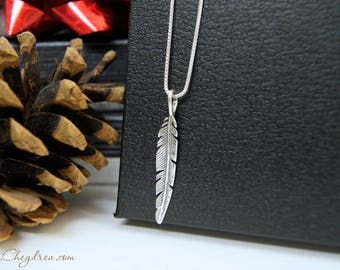 Sterling Silver FEATHER NECKLACE, Birthday Gift for her, Birthday Gift for Wife, Girlfriend, Fiancé Anniversary Gift, For Daughter from Dad