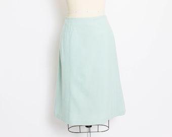 Vintage 1960s Skirt - Mint Wool High Waisted Mod Skirt - Large
