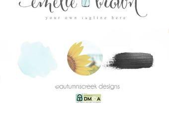 photography logo sunflower logo premade logo Flower logo flower logo photography logos and watermarks hand drawn florist logo mason jar logo