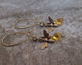 Honey Bee Earrings, Honey Drop Earrings, Bumblebee Earrings, Bronze Jewelry, Kidney Earwires, Gift for her, Nature Inspired Jewelry, Unique