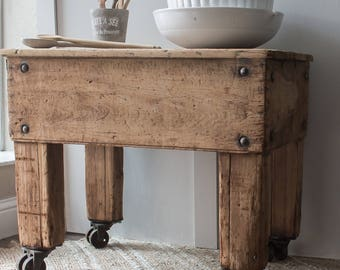 Antique Butcher Block Table with Casters