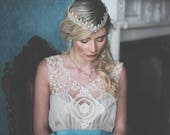 Cream and blue bridal dress, short wedding dress, antique lace wedding dress, Lace bridal Dress, boho bridal dress, vintage wedding dress