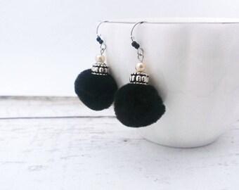 Black Pom Pom Earrings - Hook Earrings, Dangling Earrings