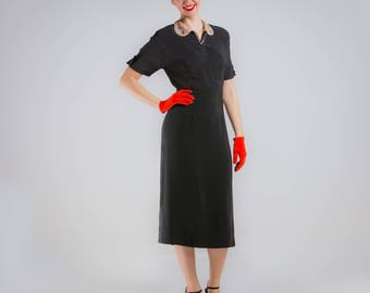 1940's Black Rayon Day Dress with Rhinestone and Pearl Collar 40s Dress