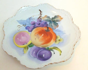 Lefton China Fruit Plate Hand Painted Gold Trim 6927