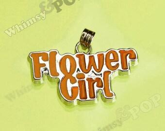 1 - CLEARANCE SALE Orange Wedding Flower Girl Pendant Silver Charm, Flower Girl Charm (3-3B)