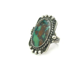 Navajo Ring. Old Pawn Turquoise, Sterling Silver. Green Brown Gemstone. Thick Band. Rope Decoration. Vintage 1940s Native American Jewelry