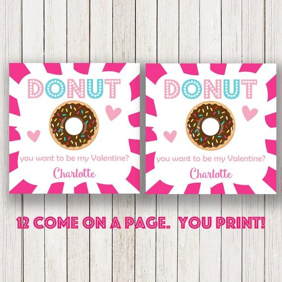 donut valentines day kids cards, Valentine\'s tag, donut Labels ...