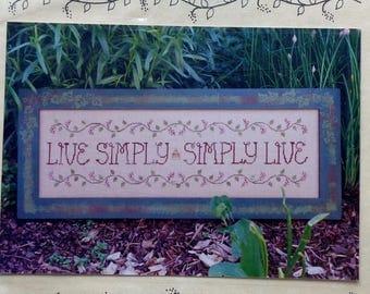 Cross Stitch Pattern | LIVE SIMPLY | Waxing Moon Designs | Counted Cross Stitch | Chartpack | Garden Gate Charm