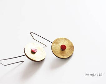 Brass earrings, Unique brass earrings, Yellow earrings red dot, Contemporary earrings, Contemporary jewelry, Unique yellow earrings, Red dot