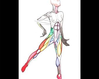 Athena, Original colorful watercolor drawing sketch, Human anatomy figure female muscle art, Nude Woman pop art, NYC artist