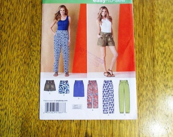 BOHO High Waisted Harem Pants w/ Yoke, Shorts & Pleated Skirt - Size (8 - 16) - UNCUT ff Sewing Pattern Simplicity 1887