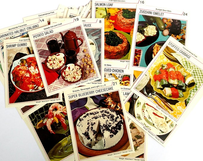 Vintage 1974 Weight Watcher Recipes Cards - Set of 52 Mixed Catagories