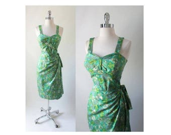 Vintage 50's Mid Century Green Watercolor Sarong Culotte Shorts Dress S