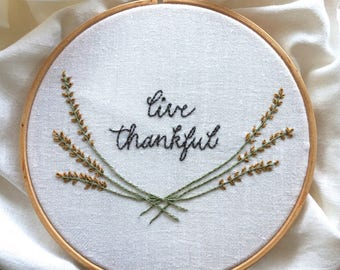 hand embroidery kit | embroidery kit | holiday embroidery kit | DIY embroidery | live thankful