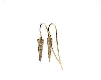 SALE 14k Micro Pave Diamond Spike Hook Through Earrings