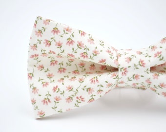 Adult Pink Floral Bowtie, Pink Bow Tie, Pre Tied Bow Tie,  Self Tie Bow Tie, Wedding Bow Tie, Floral Bow Tie
