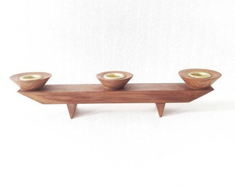 Vintage Mid Century Wood Candle Holder