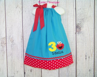 Elmo Birthday Pillowcase Dress / 3rd Birthday / Red + Blue / Personalized / 123 Sesame Street / Big Bird / Infant / Baby / Girl / Toddler