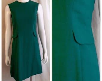 Vintage 1960s Dress Adele Simpson Green Linen Sheath Dress Mod Mini Dress