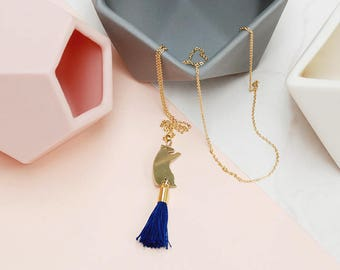 Brass Bear Charm Necklace with Blue Tassel