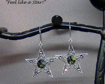 """Antiqued Silver Filigree Star w/ Swarovski Crystal Earrings, Surgical Steel Earwires - 1.5"""" - Hand Crafted Artisan Jewelry"""
