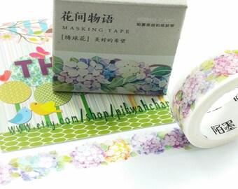 Hydrangea Flower Washi Tape (15mm X 7M)