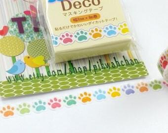 Colorful Cat Paw Print Nami-Nami Die Cut Washi Masking Tape (8mm X 8M) TM00281